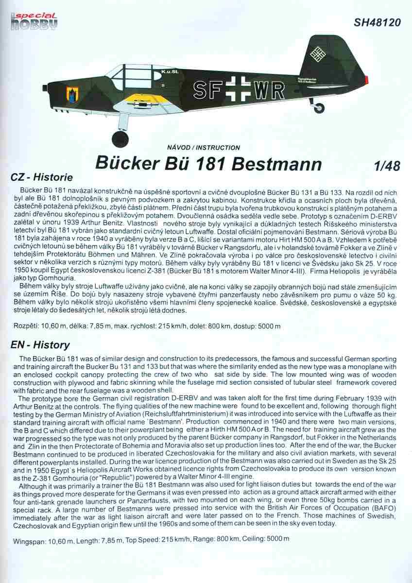 SpecialHobby-SH-48120-Bücker-Bü-181-Bestmann-31 Bücker Bü 181 Bestmann im Maßstab 1:48 Special Hobby SH 48120