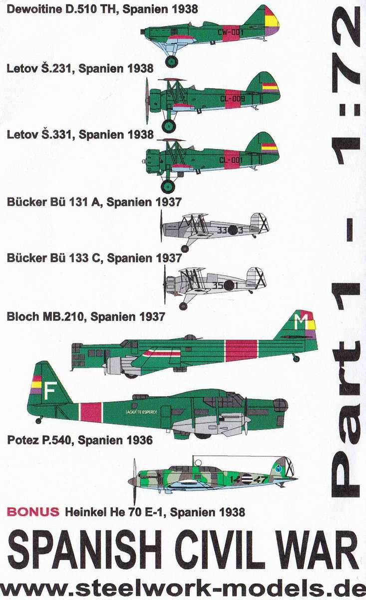 Steelwork-decals-Spanish-Civil-War-Part-1-3 Decals Spanish Civil War Part 1 von Steelwork Models ( SD 7202 )