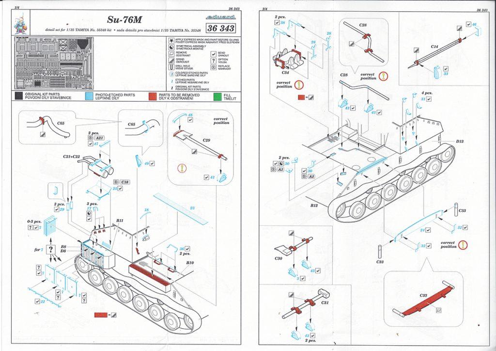 36343-1-1024x724 Photoätzteile für Su-76M von Tamiya. Eduard 36343 und 36344.
