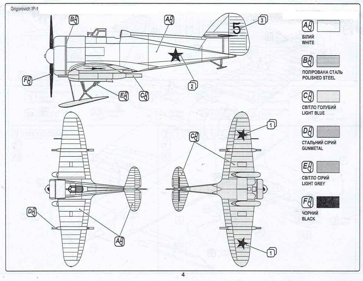Avis-BX-72025-Grigorovich-IP-1-2 Grigorovich IP-1 im Maßstab 1:72 von Avis ( BX 72025 )