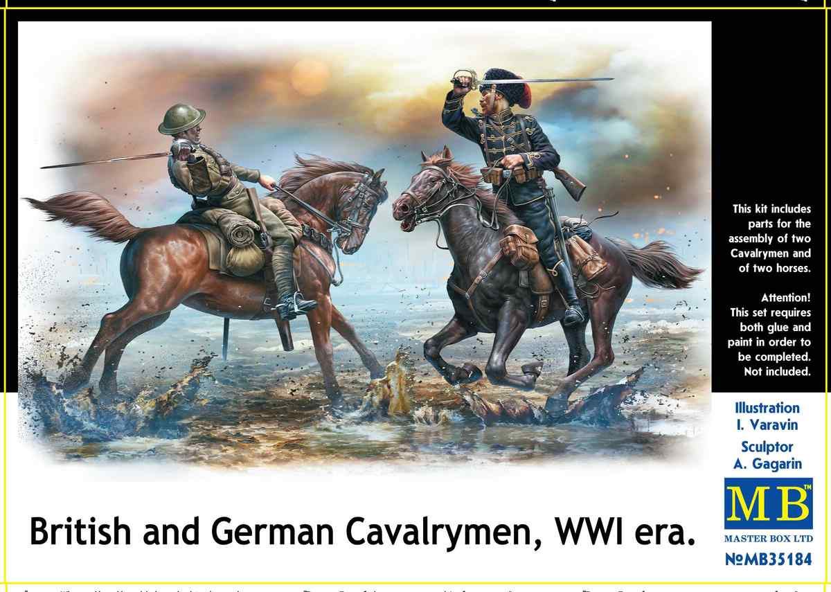 MasterBox-35184-British-and-German-Cavalrymen-WW-I-2 British and German Cavalrymen World War One (MasterBox 35148 )