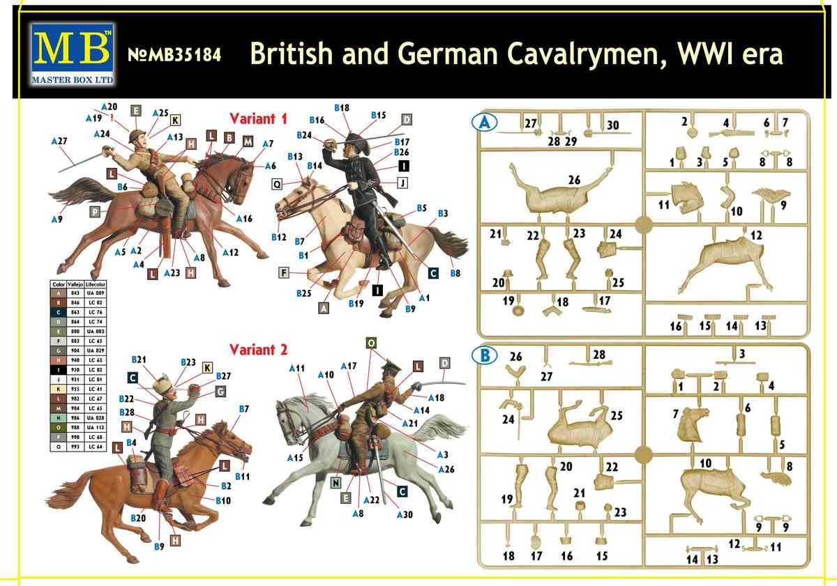 MasterBox-35184-British-and-German-Cavalrymen-WW-I-3 British and German Cavalrymen World War One (MasterBox 35148 )