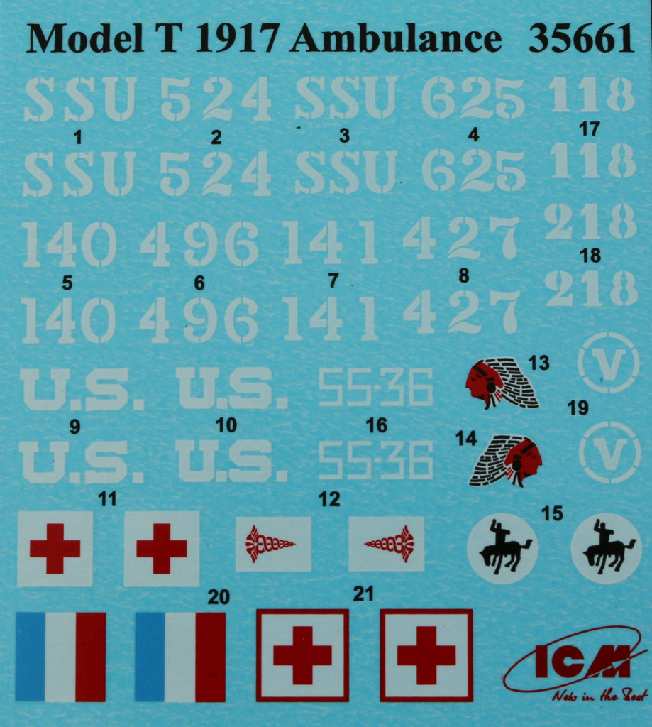 Decals-1 Model T 1917 Ambulance ICM 1:35 (35661)