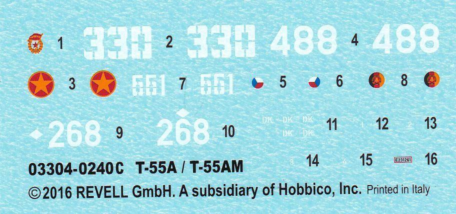 Revell-03304-T-55A-Decals Der neue T-55 A/AM von Revell in 1:72 ( 03304)