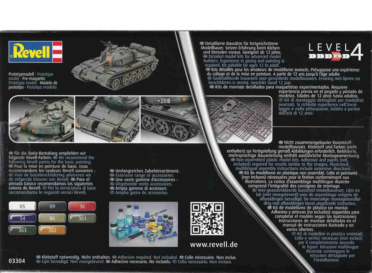 Revell-03304-T-55A-Schachtelrückseite Der neue T-55 A/AM von Revell in 1:72 ( 03304)