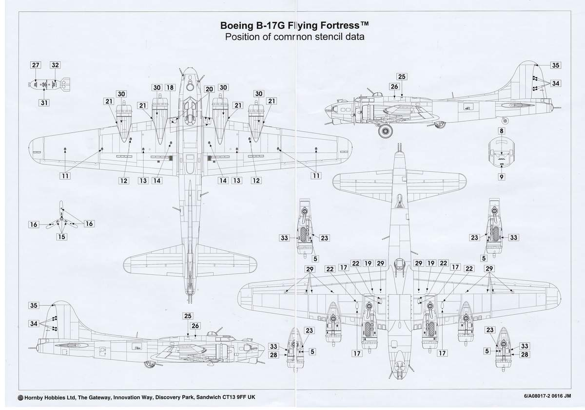 Airfix-A08017-B-17G-Stencil Boeing B-17G von Airfix 1:72 ( # A08017)