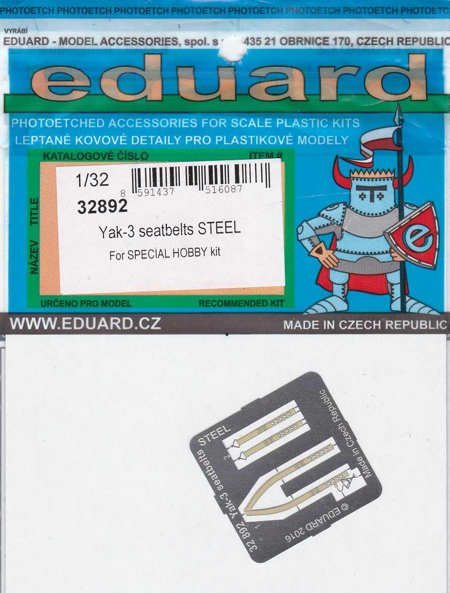 Eduard-32892-Yak-3-seatbelts-STEEL-für-Special-Hobby-1 Eduard Zubehör für die Jak-3 von Special Hobby 1:32