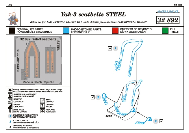 Eduard-32892-Yak-3-seatbelts-STEEL-für-Special-Hobby-3 Eduard Zubehör für die Jak-3 von Special Hobby 1:32