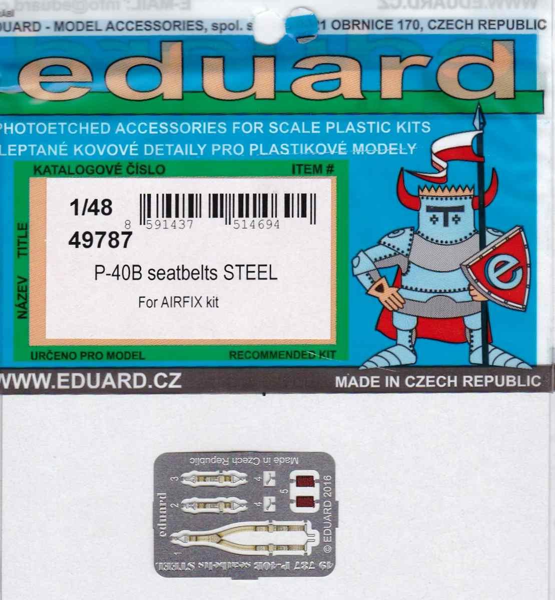 Eduard-49787-P-40B-seatbelts-STEEL-2 Eduard Zurüstsets für die neue P-40B von Airfix im Quarterscale