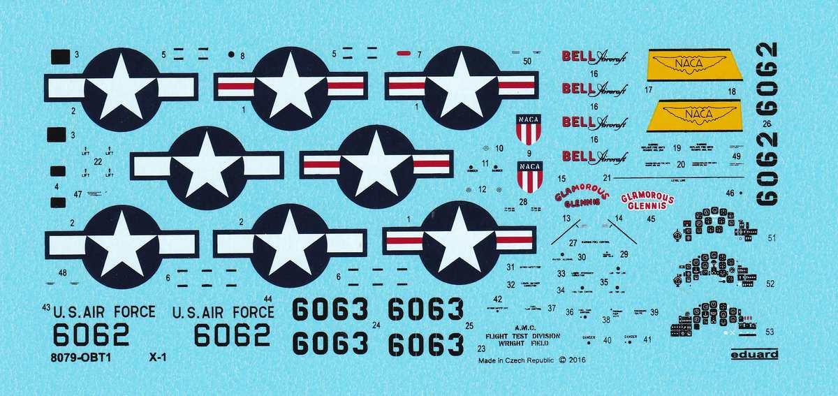 Eduard-8079-Bell-X-1-Machbuster-Decals Eduard X-1 Mach Buster 8079