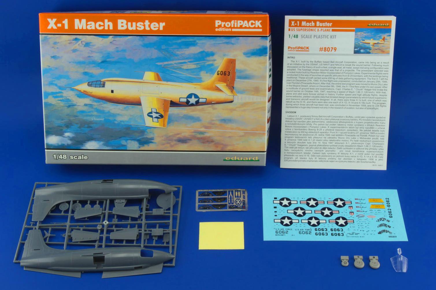 Eduard-8079-Bell-X-1-Machbuster-Schachtelinhalt Eduard X-1 Mach Buster 8079