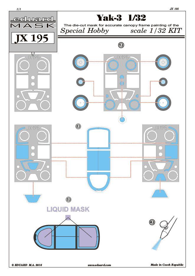 Eduard-JX-195-Jak-3-Masken-für-Special-Hobby Eduard Zubehör für die Jak-3 von Special Hobby 1:32
