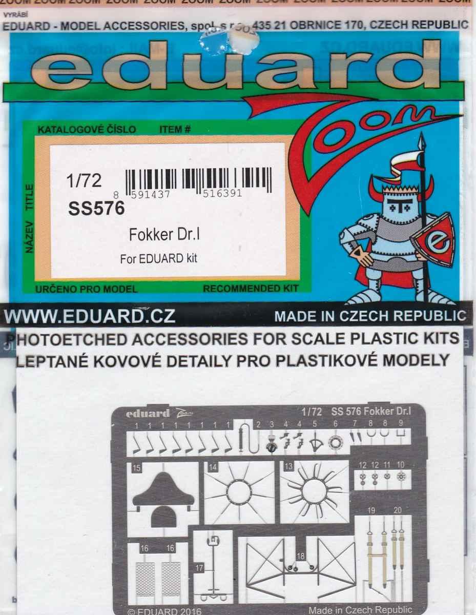 Eduard-SS-576-Fokker-Dr.-I-Detail-Set-1 Eduard-Zubehör für die Fokker Dr. I in 1:72