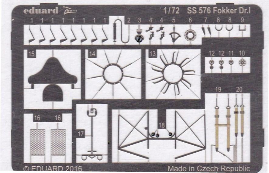 Eduard-SS-576-Fokker-Dr.-I-Detail-Set-2 Eduard-Zubehör für die Fokker Dr. I in 1:72