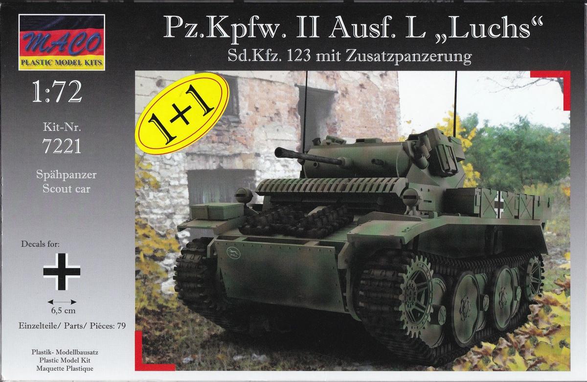 """MACO-7221-PzKpfWg.-II-Ausf.-L-mit-Zusatzpüanzerung-2 Panzer II Ausf. L """"Luchs"""" mit Zusatzpanzerung von MACO ( # 7221)"""