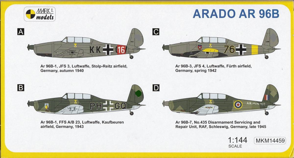 Mark-I-Models-Ar-96B-Ubiquitous-trainer-2 Arado Ar 96B und Avia C.2 von Mark I Models in 1:144