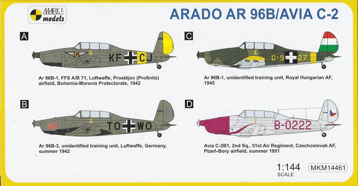 Mark-I-Models-MK-14461-Arado-Ar-96B-Military-Trainer-2 Arado Ar 96B und Avia C.2 von Mark I Models in 1:144