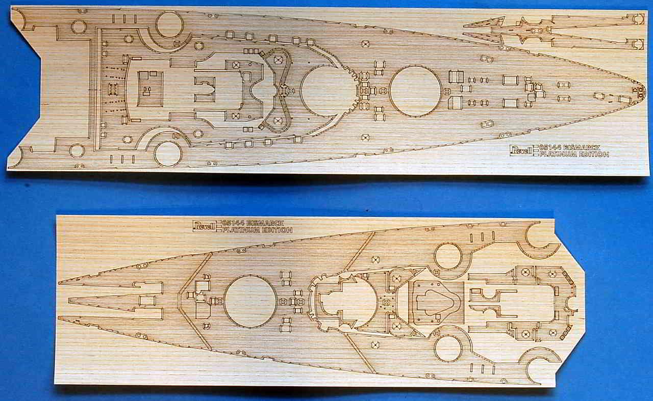08_Lasercut_Holzdeck Bismarck Platinum Edition von Revell 1:350