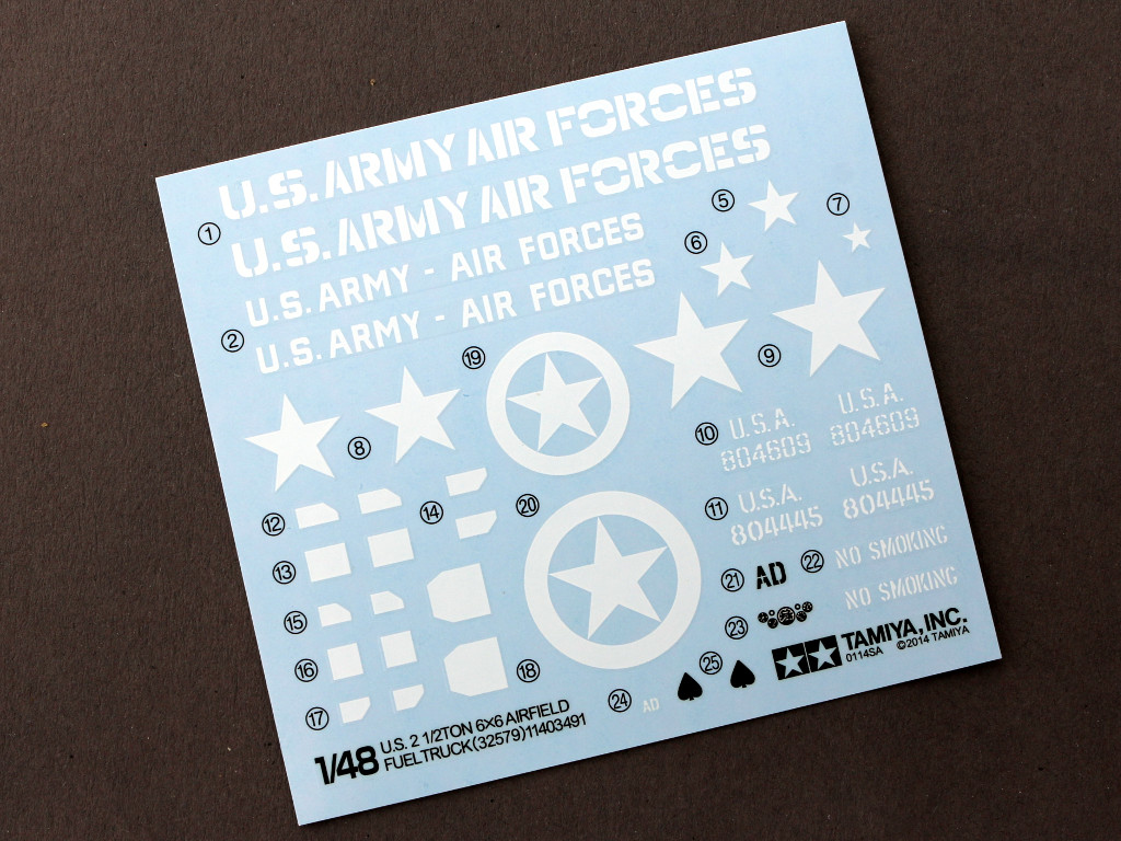 Decals-1 U.S. 2 1/2TON 6x6 Airfield Fuel Truck 1:48 Tamiya (32579)