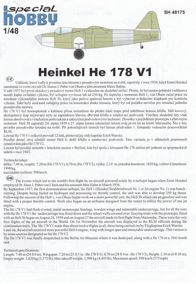 Special-Hobby-SH-48175-Heinekl-he-178-V-1-17 Heinkel He 178 V-1 von Special Hobby in 1:48