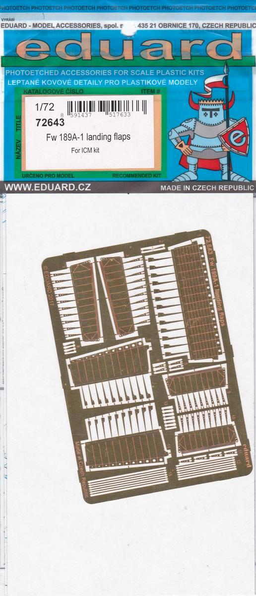 Eduard-72643-Fw-189A-1-Landing-flaps-1 Eduard Zubehör für die Fw 189A-1 Uhu von ICM im Maßstab 1:72