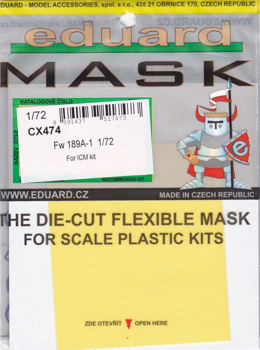 Eduard-CX-474-Fw-189A-1-Masken Eduard Zubehör für die Fw 189A-1 Uhu von ICM im Maßstab 1:72