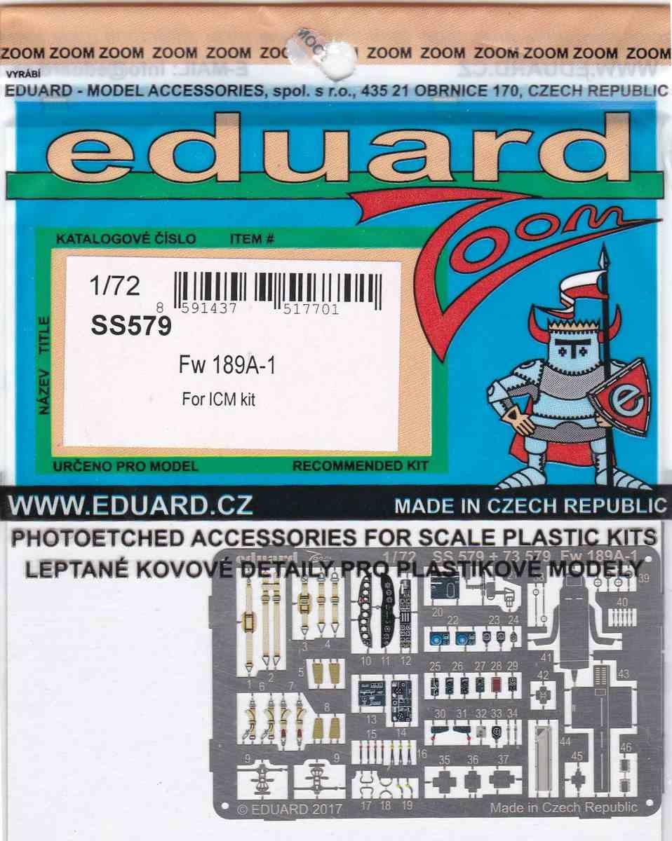 Eduard-SS-579-Fw-189A-1-ZOOM-1 Eduard Zubehör für die Fw 189A-1 Uhu von ICM im Maßstab 1:72