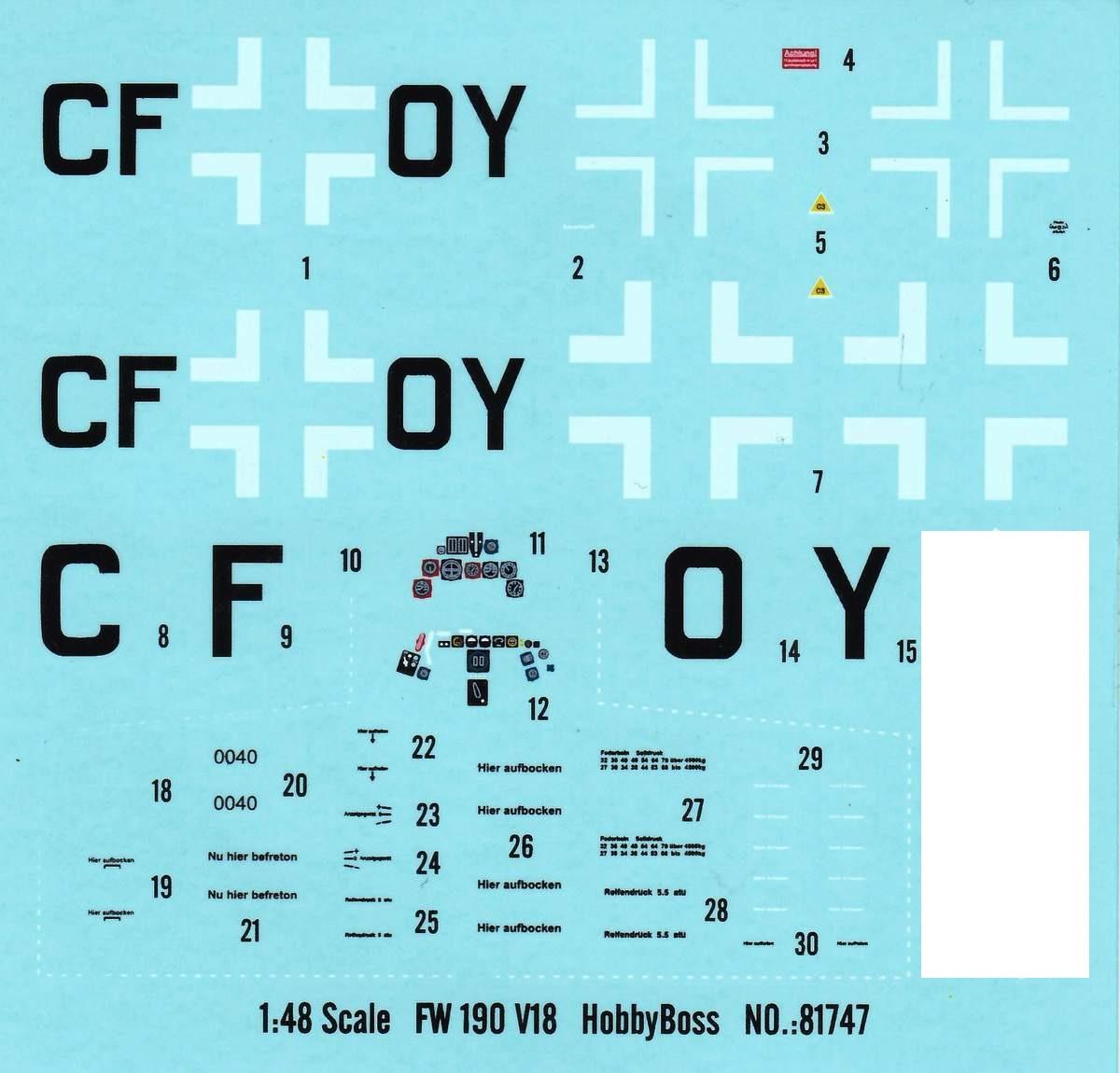 HobbyBoss-81747-FW-190-V18-Decals-2 FW 190 V18 von Hobby Boss im Maßstab 1:48 (# 81747 )