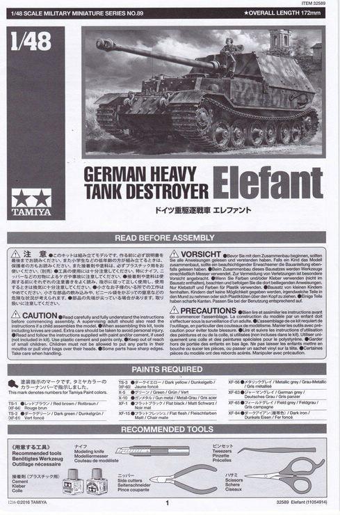 """Tamiya-1zu48-Panzerjäger-Elefant-10 German Heavy Tank Destroyer """"Elefant"""" im Maßstab 1:48 von Tamiya 32589"""
