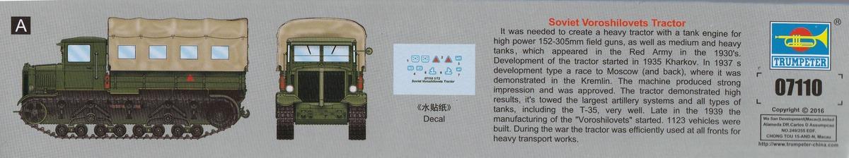 Trumpeter-07110-Soviet-Voroshilovets-Tractor-8 Soviet Artillery Tractor Voroshilovets von Trumpeter 1:72
