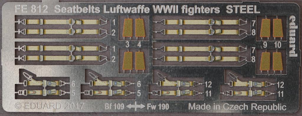 1-2 STEEL Seatbelts RAF early & Luftwaffe WW2 Eduard 1:48 (FE811 & FE812)