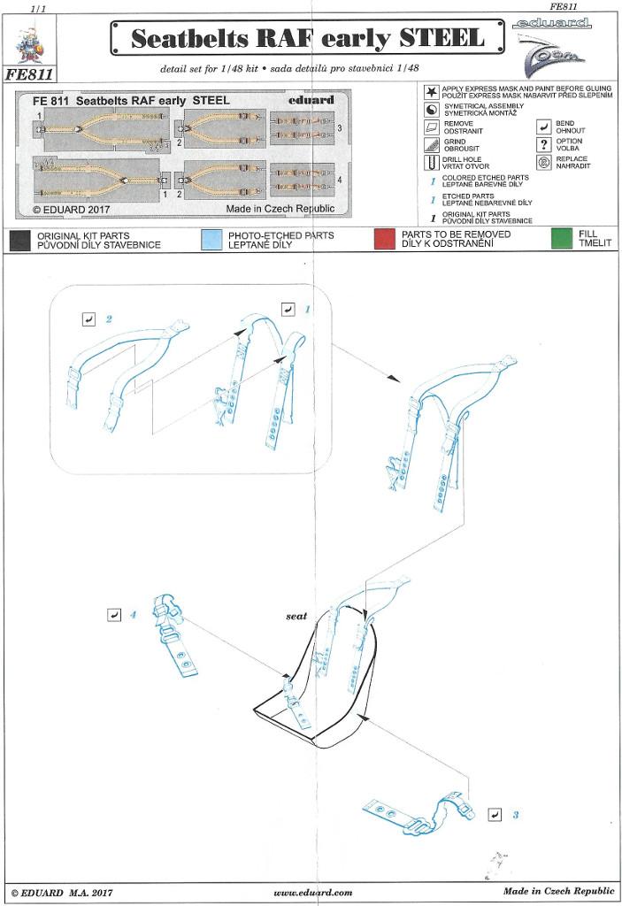 Anleitung1 STEEL Seatbelts RAF early & Luftwaffe WW2 Eduard 1:48 (FE811 & FE812)
