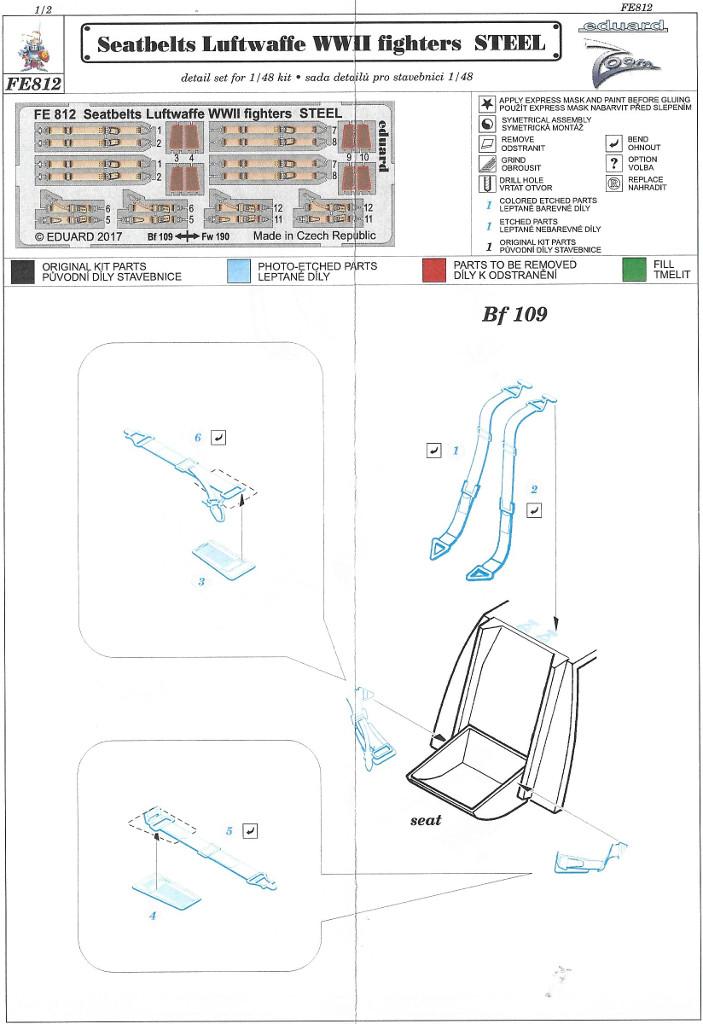 Anleitung2 STEEL Seatbelts RAF early & Luftwaffe WW2 Eduard 1:48 (FE811 & FE812)