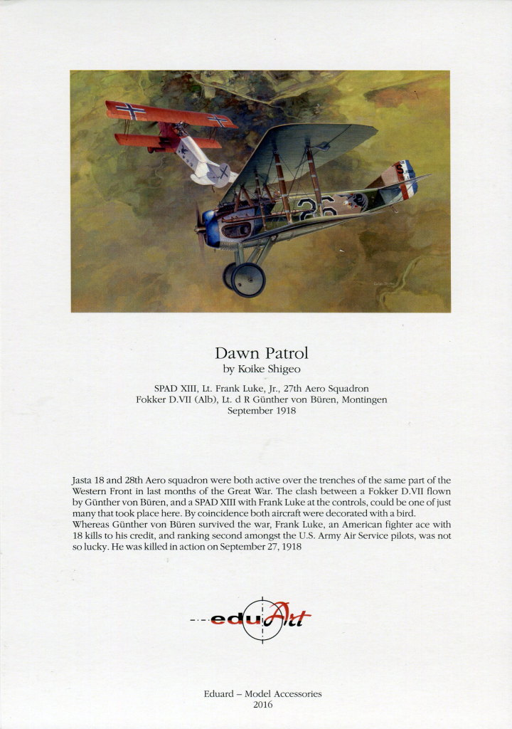 "EduArt_Dawn_Patrol_23 EduArt-Edition ""DAWN PATROL"" - Spad XIII & Fokker D.VII - Eduard 1/48 --- #11102X"