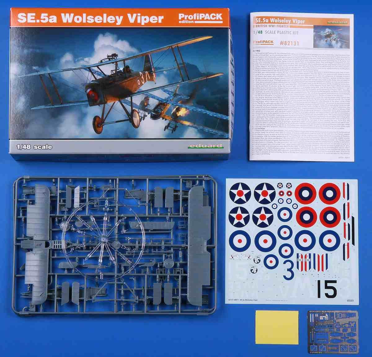 Eduard-82131-SE.5a-Wolseley-Viper-Bausatzinhalt Die neue SE.5a Wolseley Viper von Eduard in 1:48 (# 82131 )