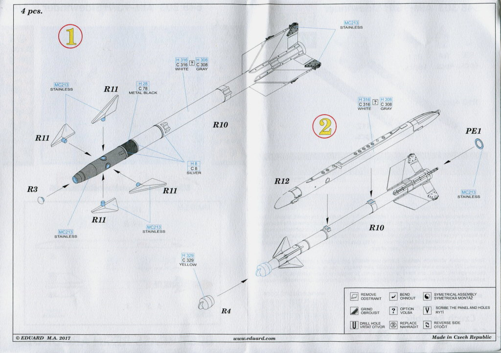 Eduard_9G_H_Sidewinder_10 AIM-9G/H Sidewinder - Eduard BRASSIN 1/48 --- #648303