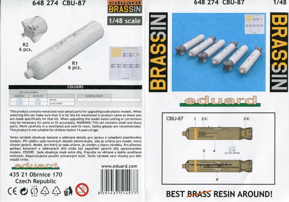 Eduard_BRASSIN_CBU-87_1 CBU-87 Cluster Bomb Unit - Eduard BRASSIN 1/48 --- #648274
