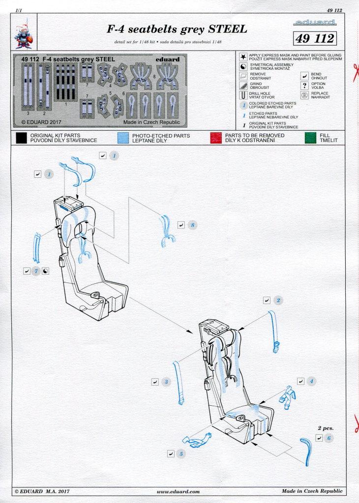 Eduard_F-4_Seatbelts-Steel_04 F-4 Phantom II Seat Belts grey - Eduard STEEL - 1/48 --- #49112