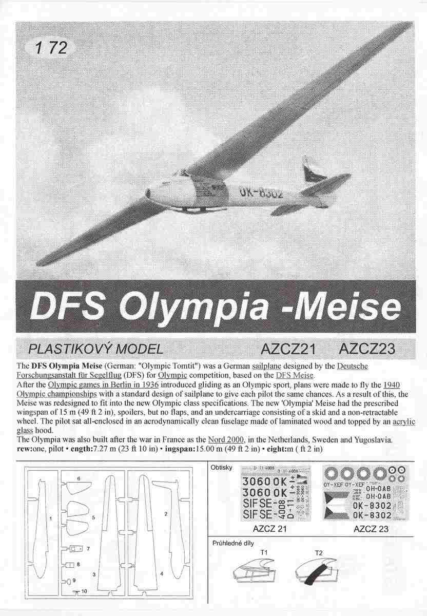AZ-Model-AZCZ-23-DFS-Olympia-meise-Special-Markings-10 DFS Olympia Meise in 1:72 von AZ Model ( # AZCZ 23 )
