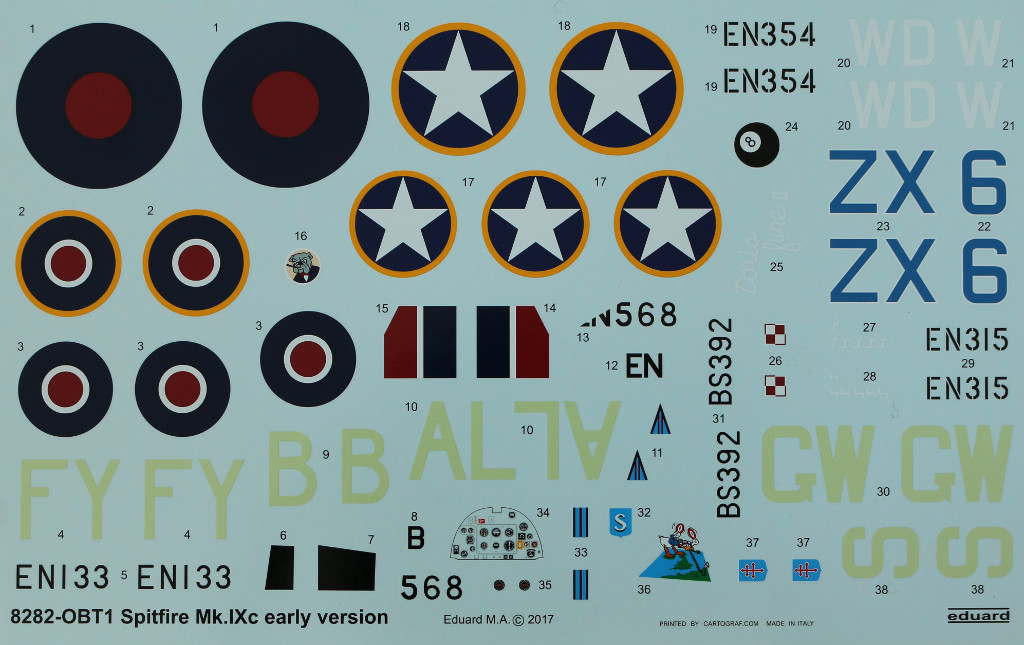 Decals Spitfire Mk. IXc (early version) Eduard ProfiPACK 1:48 (#8282)
