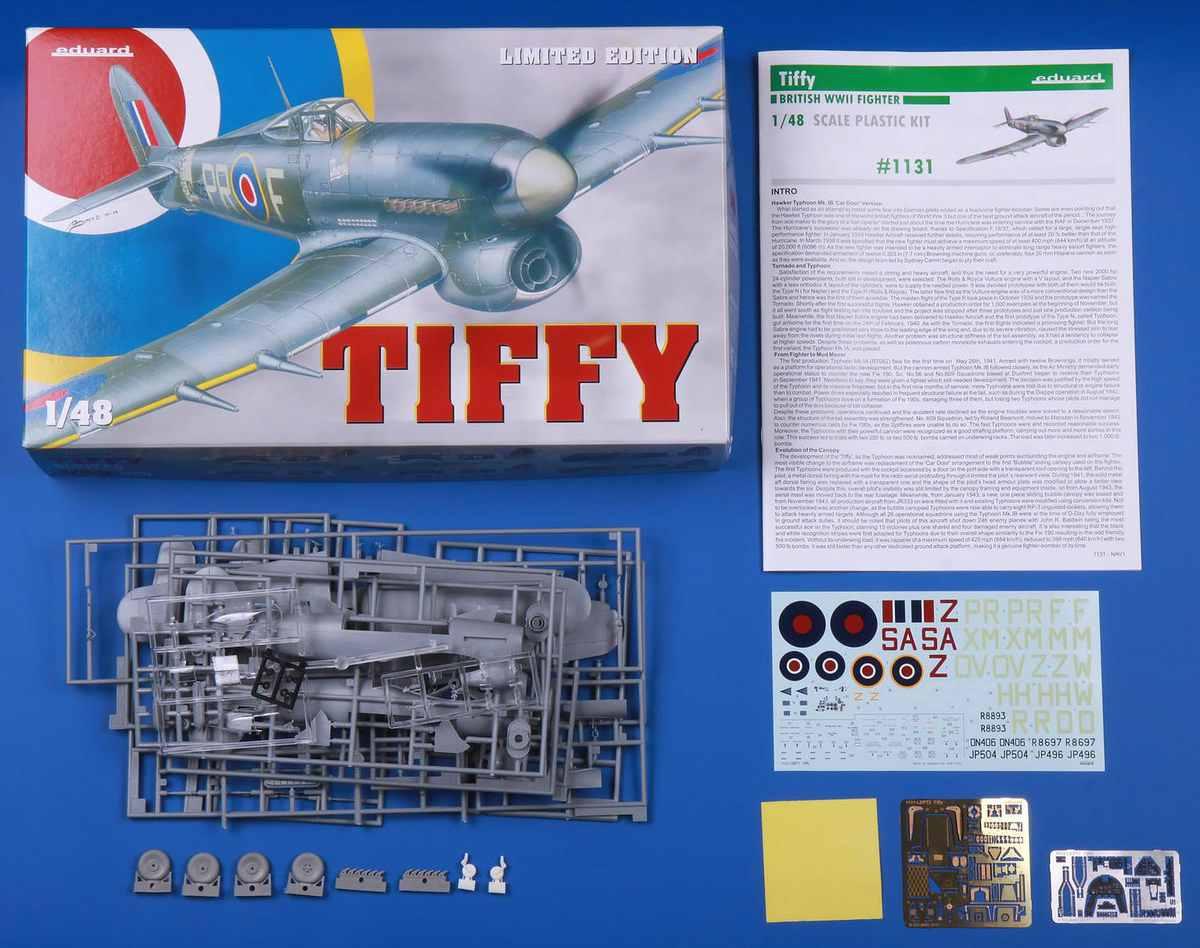 Eduard-1131-Hawker-Typhoon-Mk.-Ib-Bausatzinhalt TIFFY - Typhoon Mk. Ib von Eduard im Maßstab 1:48 ( # 1131 )
