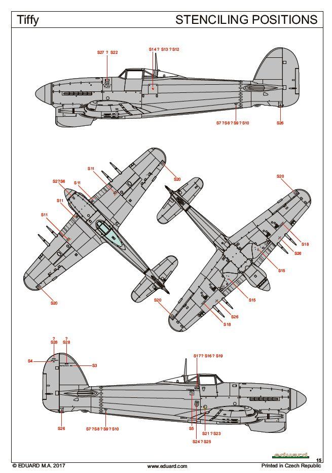Eduard-1131-Hawker-Typhoon-Mk.-Ib-Stencils TIFFY - Typhoon Mk. Ib von Eduard im Maßstab 1:48 ( # 1131 )