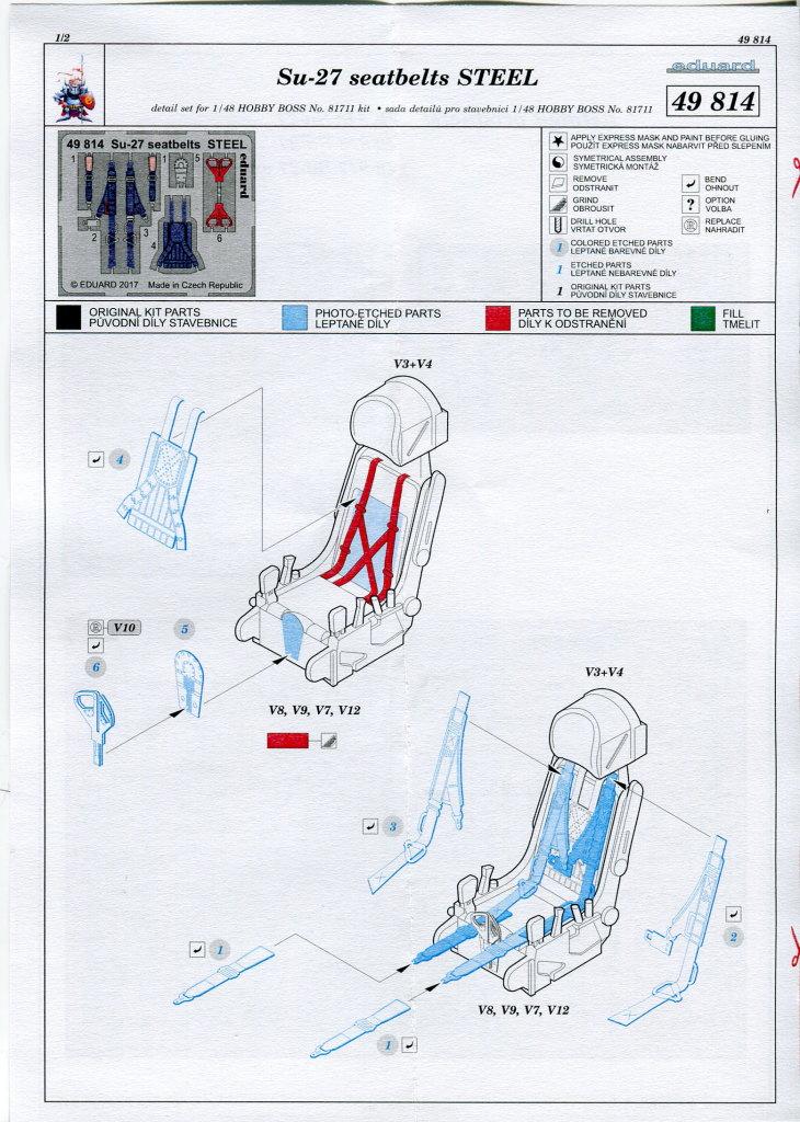 Eduard_seatbelts_Steel_Su-27_HB_02 Eduard-Zubehör für die Su-27 Flanker B von Hobby Boss - 1/48