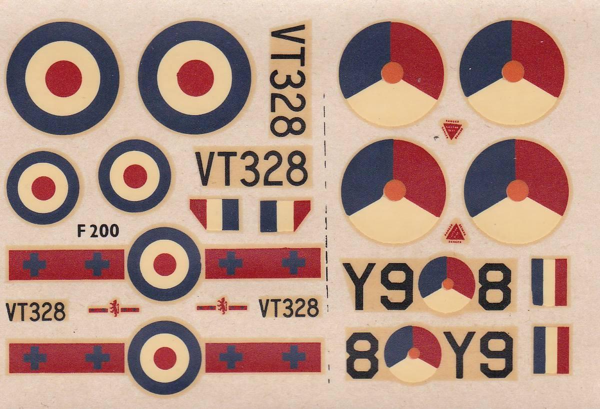 FROG-F200-Gloster-Meteor-F.MK_.IV-Decals Gloster Meteor F.Mk. IV von FROG im Maßstab 1:72