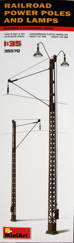 MiniArt_Railroad_Power_Poles_12 Railroad Power Poles and Lamps - MiniArt - 1/35  ---  35570
