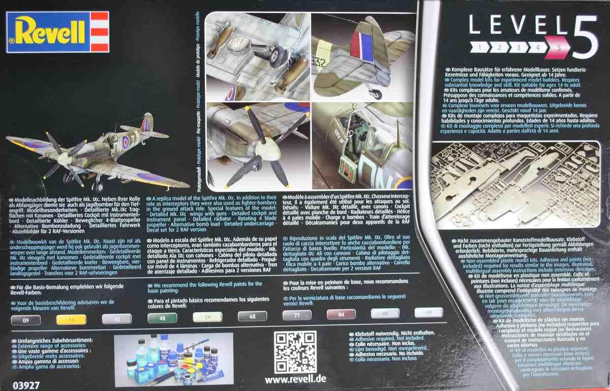 Revell-03927-Spitfire-Mk.-IXc-Schachtelrückseite Spitfire Mk. IXc von Revell im Maßstab 1:32 ( 03927 )