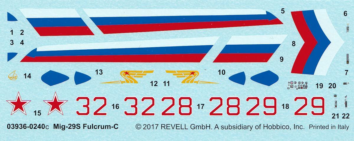 Revell-03936-MiG-29S-1zu72-Decal MiG-29S Fulcrum von Revell (1:72; # 03936 )