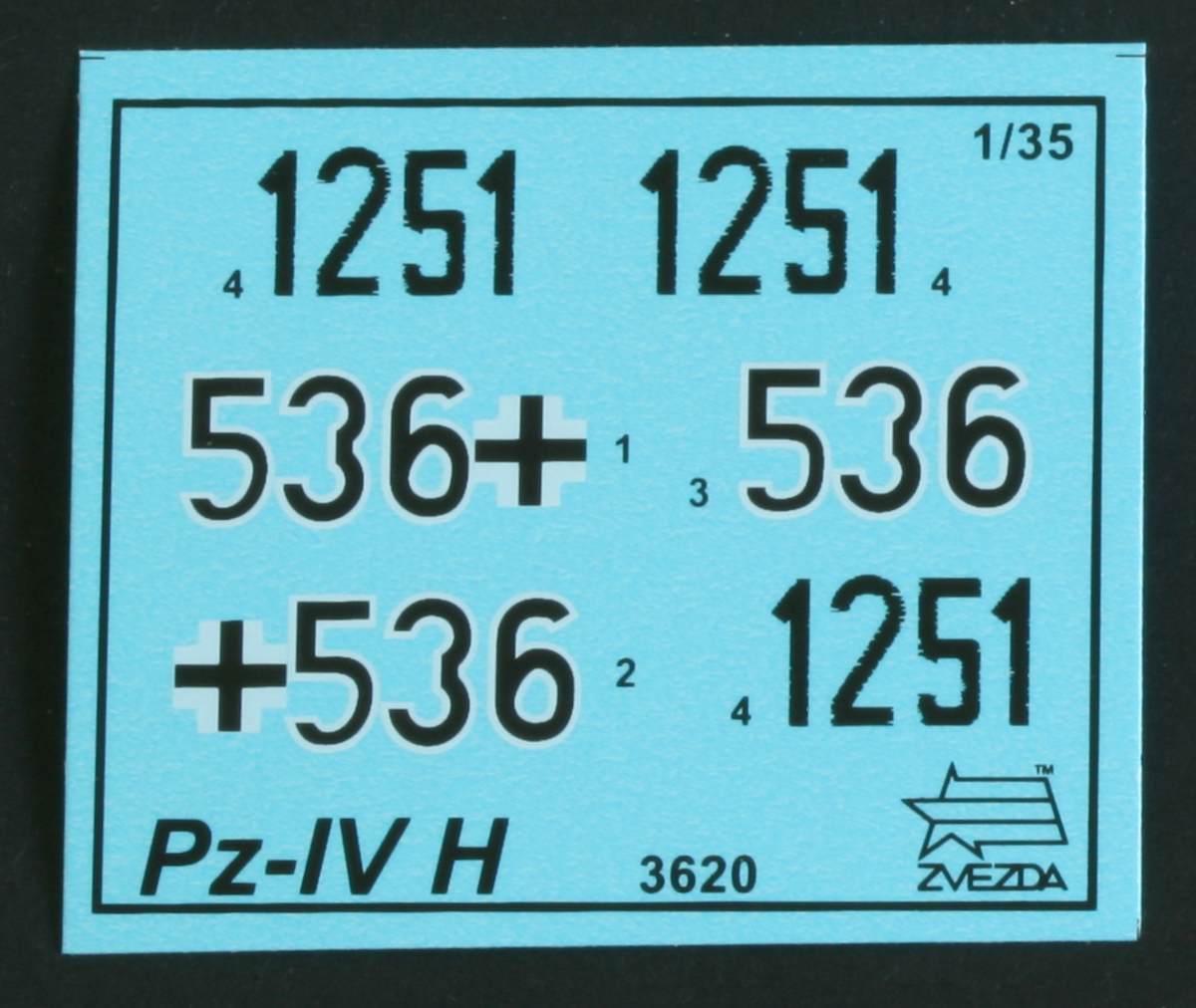 Zvezda-3620-Panzer-IV-Ausf.-H-Decals Panzer IV Ausf. H von ZVEZDA im Maßstab 1:35 ( # 3620 )