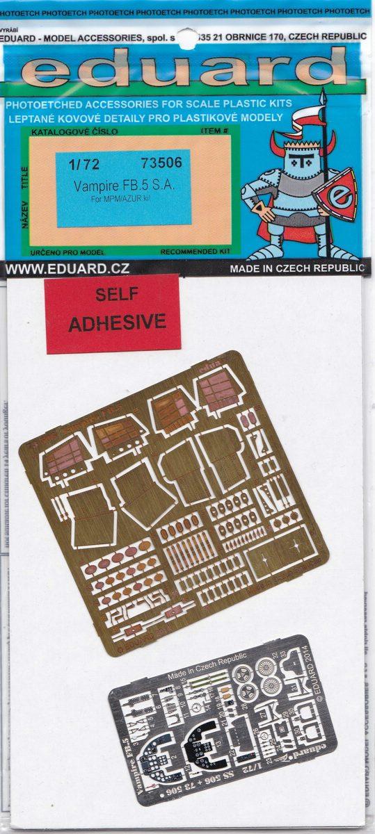 Eduard-73506-Vampire-FB.5 Eduard Detailsets für die Vampire von Special Hobby / Revell in 1:72