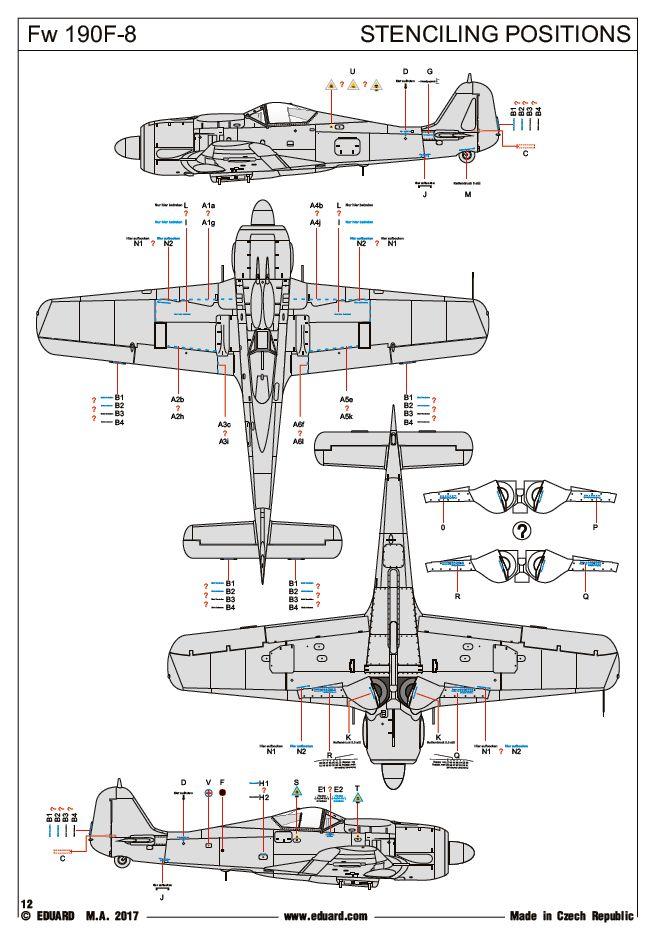 Eduard-7440-FW-190-F-8-WEEKEND-Stencilplan Focke Wulf FW 190 F-8 WEEKEND von Eduard (1:72) # 7440